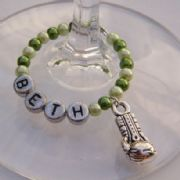 Boxing Glove Personalised Wine Glass Charm - Full Bead Style
